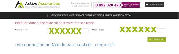 connexion au compte active assurances
